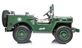 Jeep Army, Willy's jeep, 4wd, eva, leder, BlueTooth, 2.4ghz softstart, 3 zitplaatsen. (JH-101A)