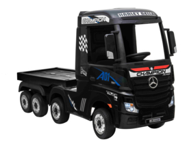 Mercedes Actros + oplegger, Metallic zwart, EVA, Wide screen Multimedia, 4WD, FM radio, 2x12V7ah accu, leder, RC (ActrosZW+tr)