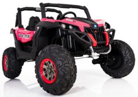 Beach buggy roze , Mp4 TV, 2 zitter, 12V, 2.4ghz, softstart, 4x4, eva, leder (XMX-603pk )