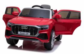 Audi Q8 Quattro S-line 12V, metallic rood, leder look, 2.4ghz RC, EVA (JJ2066rd)