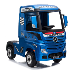 Mercedes Actros, Blauw metallic, Wide screen Multimedia, 4WD, FM radio, 2x12V7ah accu, leder, RC (ActrosBlue)