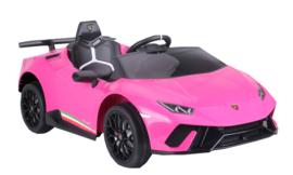 Lamborghini Huracán LP640 Performanté, 12V, roze, 2.4ghz RC , BT,EVA, lederen stoel (S308zw)
