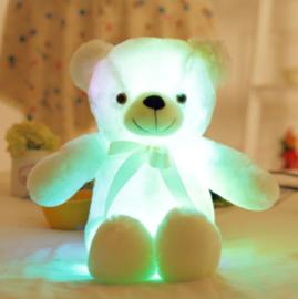 Knuffelbeer 50cm wit - LED Licht - lichtgevende teddybeer - lichtgevende knuffel wit