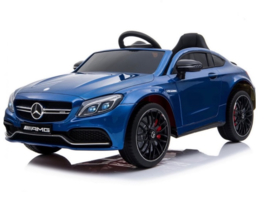 Mercedes C63 S Coupé ///AMG blauw metallic  12V + 2.4GHZ  RC , eva , leder (C63blue)
