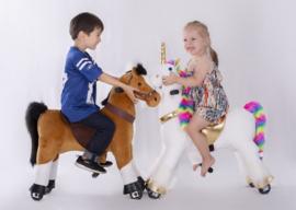 """Kids-Horse """"Melchior""""  bruin witte bles en hoef, voor kids van 4-9 jaar.  (TB-2007M)"""