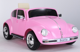 VW Beetle roze, 12V , leder, 2.4ghz afstandsbediening (JE1818)