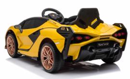 Lamborghini SIAN  12V,  MP4 tv, geel ,2.4ghz, lambo  deuren, lederen stoel (SIAN)