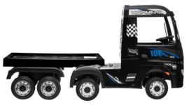 Mercedes Actros + oplegger, zwart, Wide screen Multimedia, 4WD, FM radio, 2x12V7ah accu, leder, RC (ActrosZW+tr)