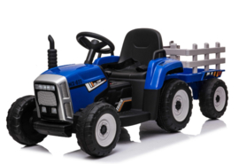 Tractor blauw + trailer, leder look,  12V7ah , BlueTooth, 2.4ghz  (XMX611))