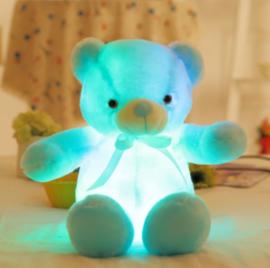 Knuffelbeer 50cm blauw - LED Licht - lichtgevende teddybeer - lichtgevende knuffel blauw