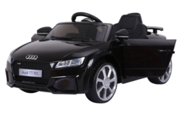 Audi TT RS 12V Metallic zwart, 2.4ghz softstart, rubberbanden, leder (JE1198zw)