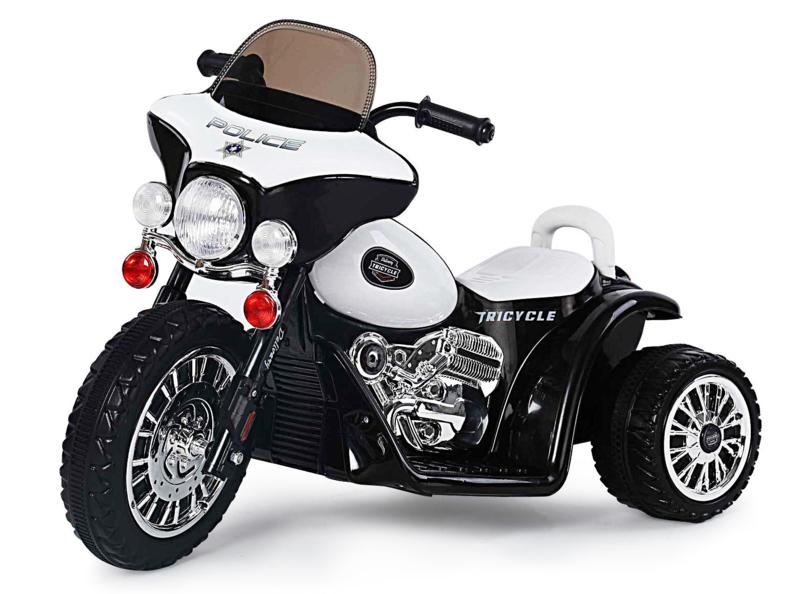 Politiemotor 6V zwart/wit  (JT568zw)