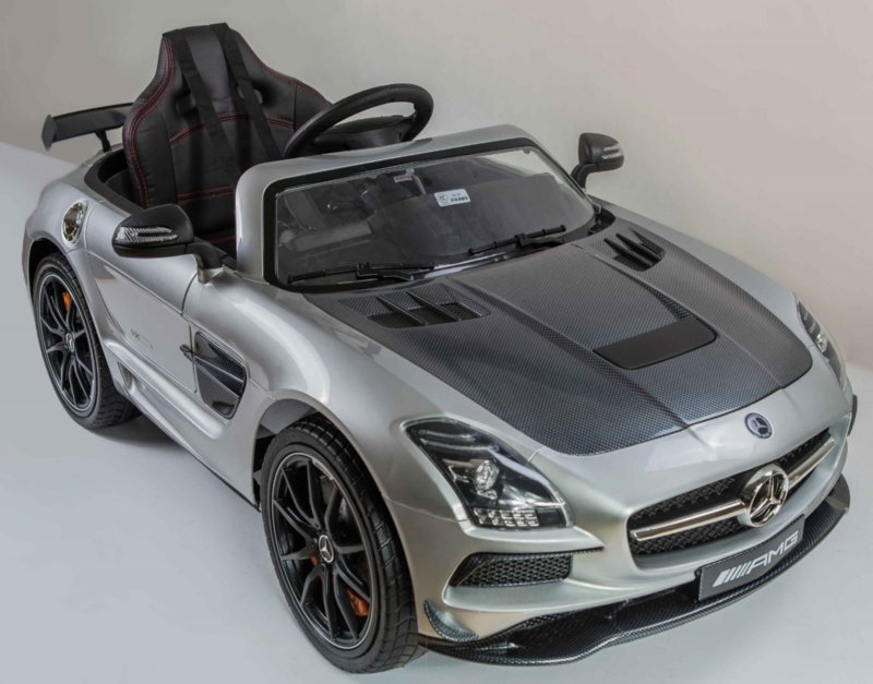 Mercedes SLS 12V metallic Zilver, Final Carbon Edition, MP4 touchscreen TV,  leder , 2.4ghz soft start (sx128sil)