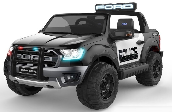 Ford Ranger RAPTOR F-150  Police Patrolcar , zwart metallic, Megafoon + sirenes, 2.4ghz softstart RC, multimedia, zwart leder, FM, BT,  (FRR-Pzw)