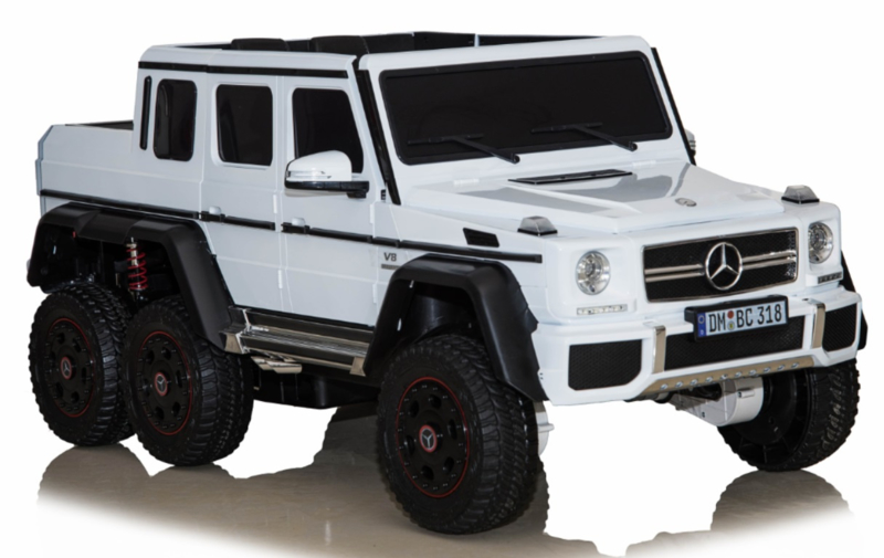 Mercedes-Benz G63 6x6 wit, Mp4 TV, 12V10ah accu , 2.4ghz softstart afstandsbediening, leder (DMD-318wt)