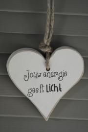 Teksthart 'jouw energie geeft licht'