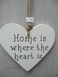 """Houten teksthart """"Home is where...."""