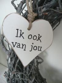 """Houten hart """"Ik ook van jou"""""""