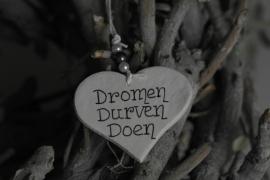 Teksthartje 'dromen, durven, doen'