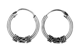 925 Sterling zilveren Creole Bali hoepoorbellen - 15 mm