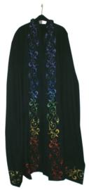 Zwarte Katoenen Cape met Chakra dessin - 160 cm lang