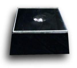 Lichtplateau gekleurd licht zwarte vierkante voet - 6,5 x 6,5 x 3 cm