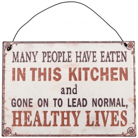 Blikken metalen wandbord  Normal healty lives 15 x 21 cm