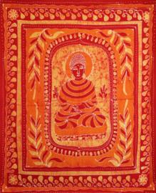 Bedsprei wandkleed batik Boeddha rood oranje - 200 x 250 cm