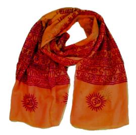 Benares-sjaal Indiaas Hindu Varanasi oranje - 90 x 180 cm