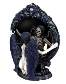 Fate's Reflection - Spiegel - Memento Mori - Gothic Engel met spiegelbeeld van een skelet - 33 cm hoog