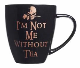 Alchemy of England - zwarte keramieke koffie mok - I'm not me without tea - 10,9 cm hoog