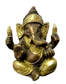 Ganesha beeld twee kleuren messing - 7 cm hoog