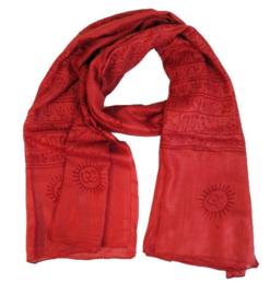 Benares-sjaal Indiaas Hindu Varanasi rood - 60 x 120 cm