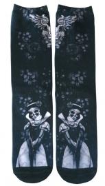 Darkside sokken - Sneeuwwitje doodskop Dia de Muertos - maat 36 - 46