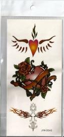 Plaktoeage hart, roos en tribal