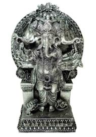 Ganesh multihoofden zilverkleurig zittend aan troon