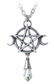 Alchemy Gothic nekketting - Goddess - drievoudige maan met pentagram - 5.2 cm hoog