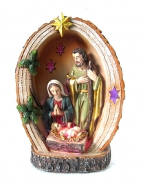 Heilige familie met licht - 15 cm hoog