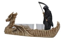 Charon's Reckoning - Griekse Veerman en God van de Dood Reaper Magere Hein - theelichthouder borrelglashouder Polystone beeld - 40 cm lang