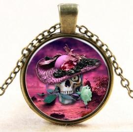 Glazen hanger met ketting doodskop met roze hoed en roos
