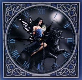 Dark fairy with unicorn clock 2 - 30 x 30 cm