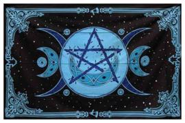 Katoenen bedsprei drievoudige maan met pentagram blauw 150cm x 215cm