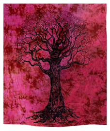 Bedsprei wandkleed grand foulard levensboom zwart rood 210 x 230 cm