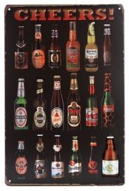 Blikken metalen wandbord Cheers bierflessen - 20 x 30 cm