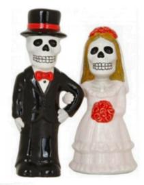 Zout- en Peperhouders - Skeletale huwelijkspaar - Love never dies - 12 cm hoog