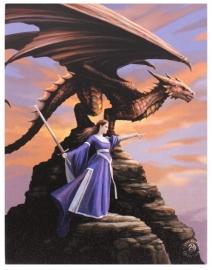 Dragon Sentinel - wandbord van Anne Stokes - 25 x 19 cm