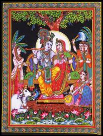 Indiase wandkleed muurkleed katoen krishna en Radha met vrouwen en heilige koe c.a.  80 x 110 cm