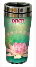 RVS Thermos reisbeker - Lotusbloem Boeddhisme - Open Travel - 19,5 cm - 47 cl
