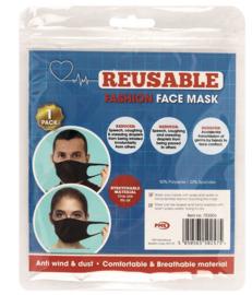 Herbruikbare zwarte gezichtsmasker spandex