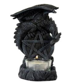Theelichthouder Gothic draak op Pentagram - 14 cm hoog